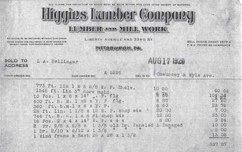 Bellinger_Central Park Receipt_1920
