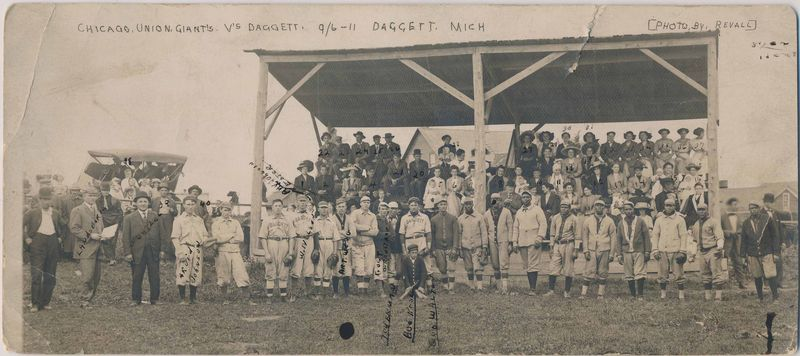 Sept 6, 1911 Chicago Union Giants v. Daggett Michigan panoramic postcard