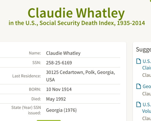 Claudie Whatley_Social Security Death Index