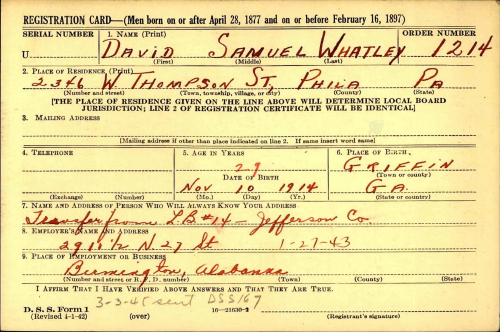Whatley_David Samuel_WW2 Draft Card