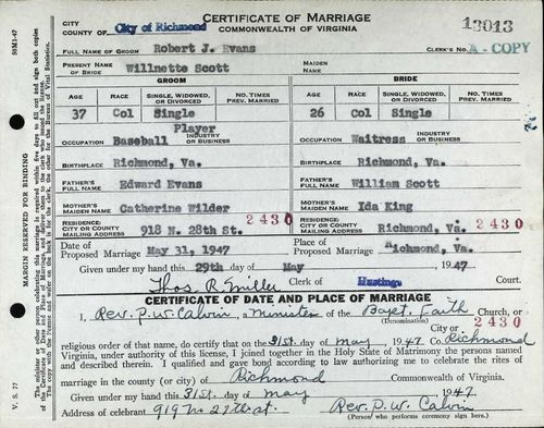 Bob Evans marriage certificate