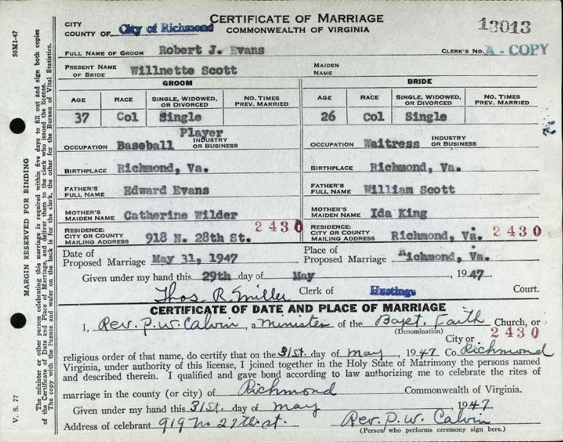 Bob Evans marriage certificate