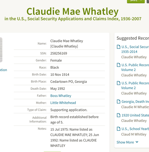 Claudie Mae Whatley_Social Security Applications