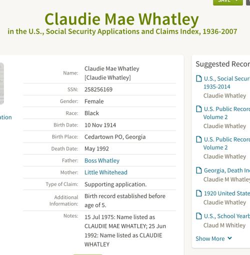 Claudie Mae Whatley_Social Security Applications