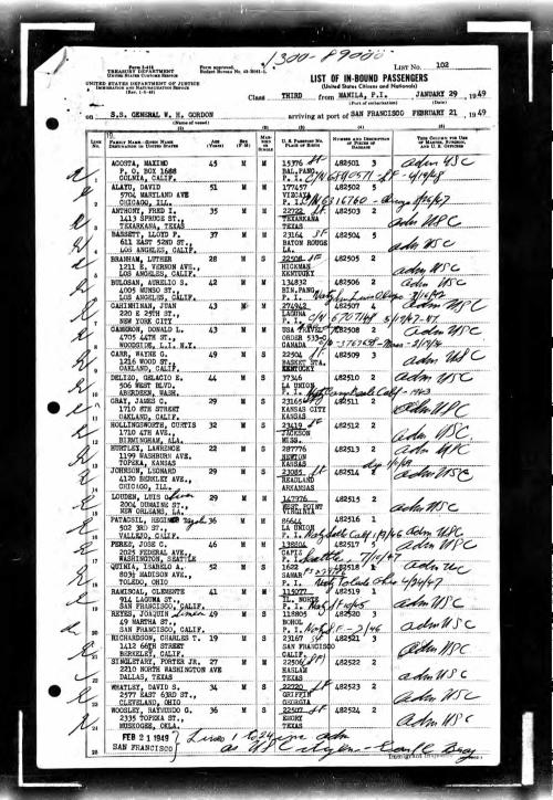 Passenger List_Manila-SF_1949