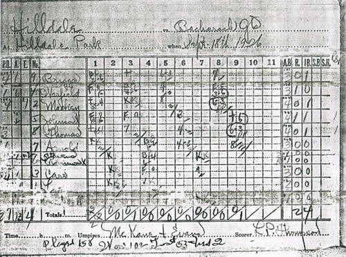 Hilldale Scorebook_1926-9-18a