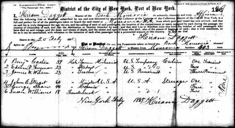 Passenger List_Monrovia_1885