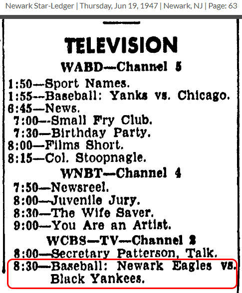 NewarkBlackYankees-TV-1953JUN19