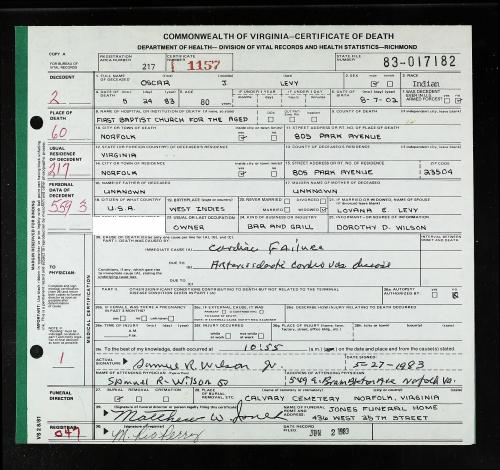 Levy_Oscar_Death Certificate