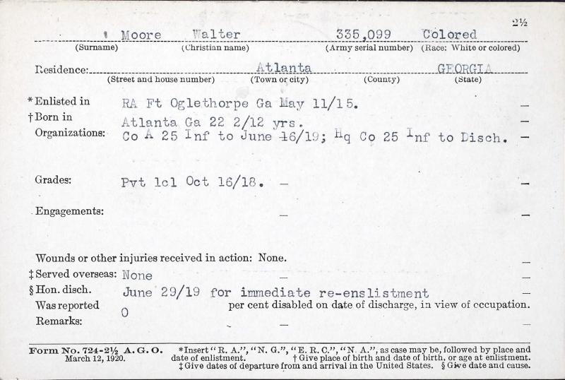 Walter Moore_WW1 Service Card